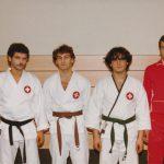 Wado-Nationalmannschaft 1981 mit drei Bushidokas und Coach Alex Beck