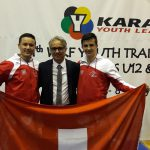 2018 Mit Kumite-Nationaltrainer Franco Pisino und dem 2-fachen KJ1 Kumite-Sieger Arben Pjetraj